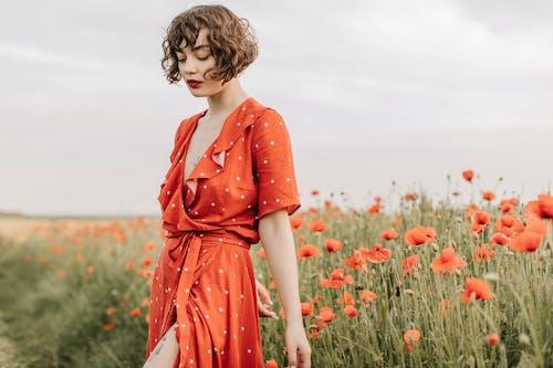 Kostnadsfri bild av 20-25 år gammal kvinna, blomma, falla, fält