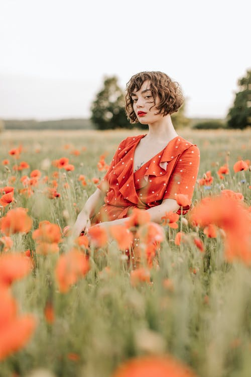 Kostnadsfri bild av 20-25 år gammal kvinna, avslappning, bete, blomma