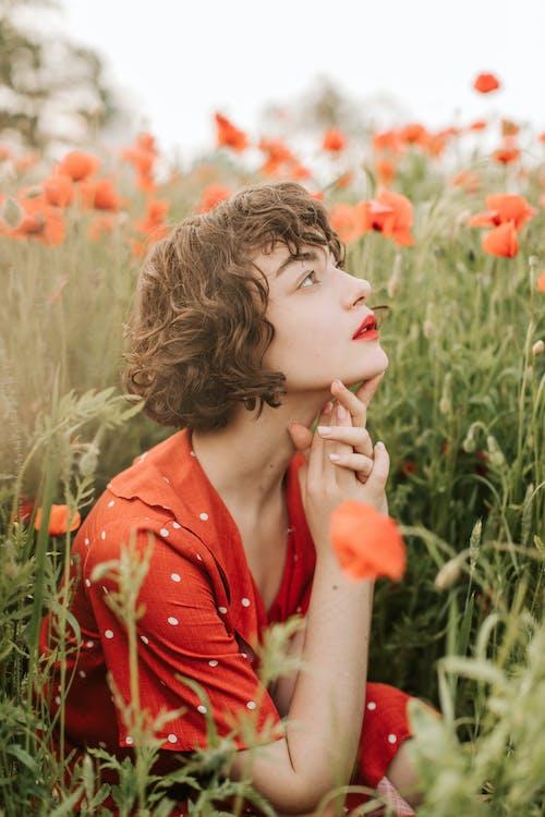 Kostnadsfri bild av 20-25 år gammal kvinna, avslappning, blomma, fält