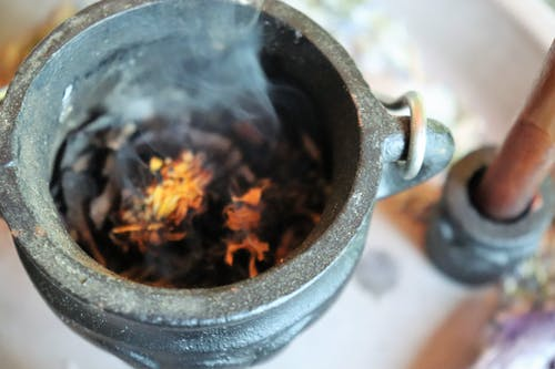 Free stock photo of burning, cauldron, flowers, wiccan