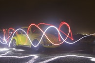 lights, night, car
