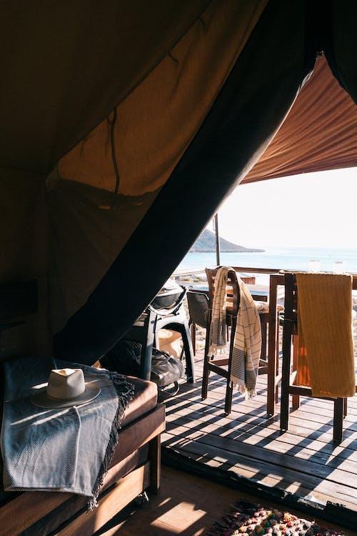 Terrace of resort tent on seashore