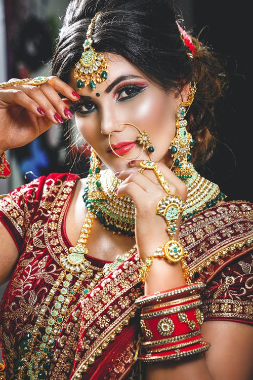 Content Indian bride in authentic dress