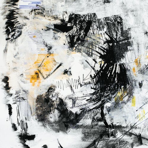 White and Black Abstract Painting