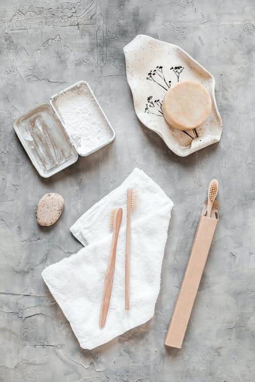Set of eco friendly hygienic supplies on table