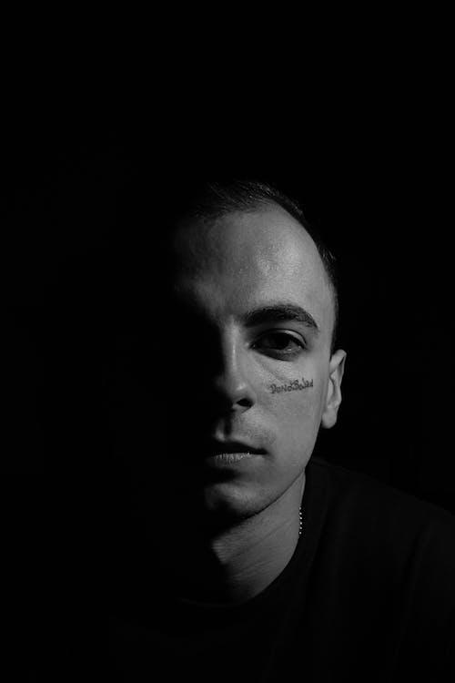 Monochrome Photo of a Serious Man