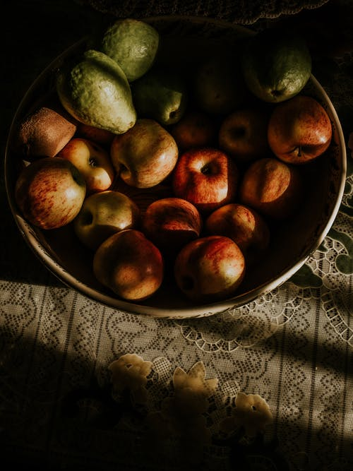 Green and Brown Round Fruits on Brown Ceramic Bowl