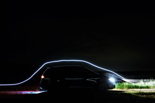 Free stock photo of at night, black car, car, light painting