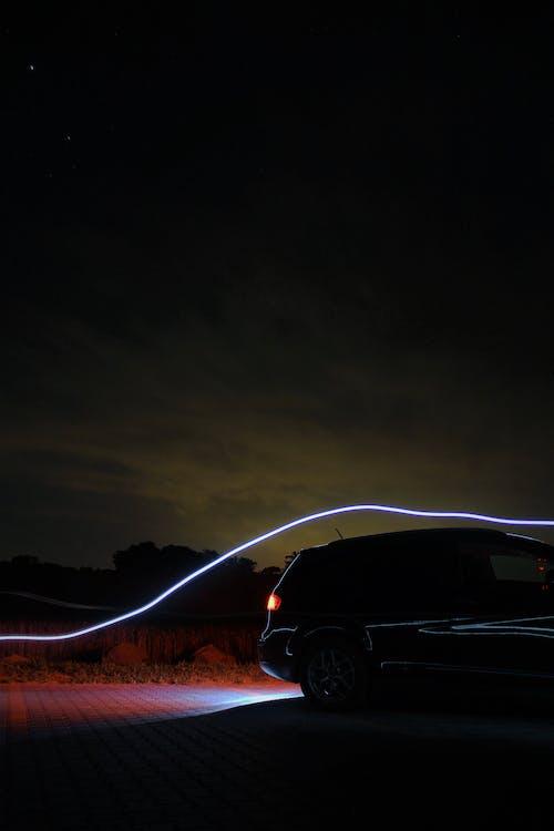 Free stock photo of black car, car, light painting, night