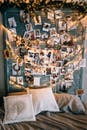Assorted Photos on Blue Wall