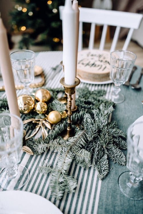 Table decorated for Christmas celebration