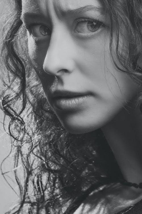 девушка, лицо, монохромный, портрет 的 免费素材图片