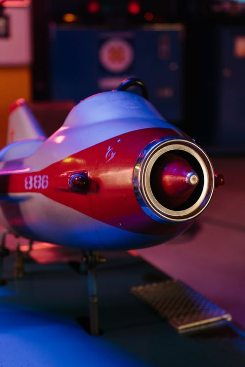Blue and Red Space Ship Scale Model