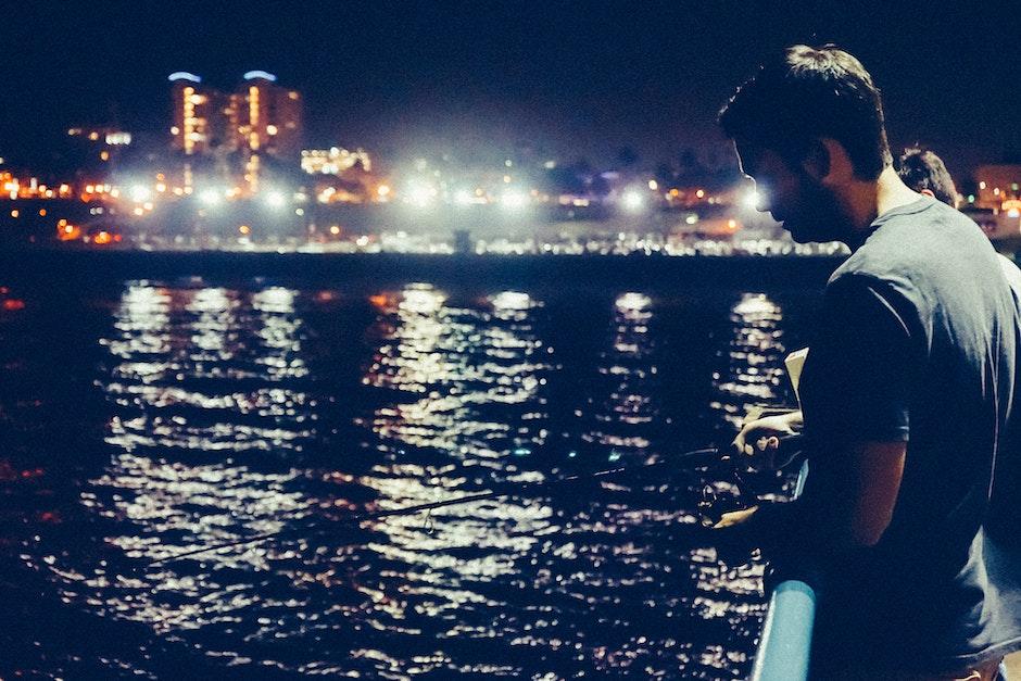fishing, man, night