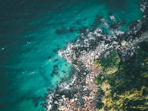 Amazing landscape of tropical coastline near blue sea