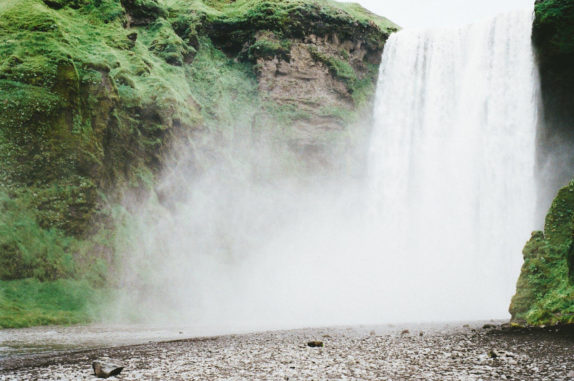 nature, rocks, waterfall