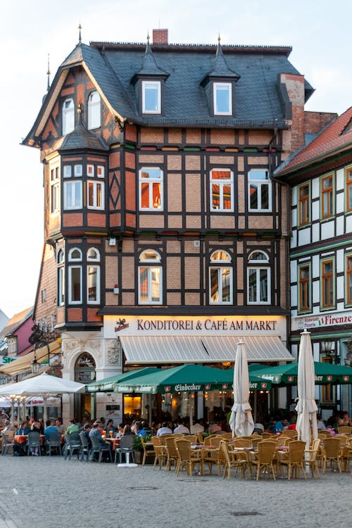 Exterior of half timbered house of famous cafe