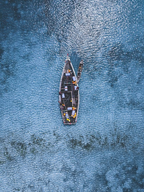 Aerial View of Two Boats on Body of Water