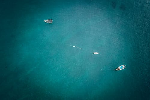 Aerial View of Two Boats on Sea