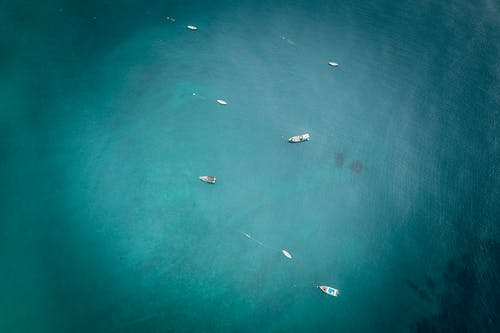 Aerial View of Boats on Sea