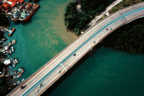 Aerial View of a Bridge over a River