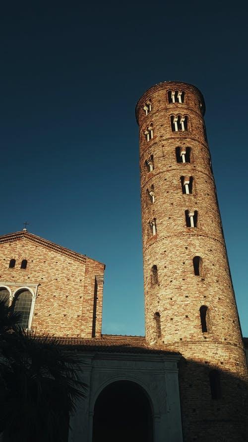 Old building with tower in city