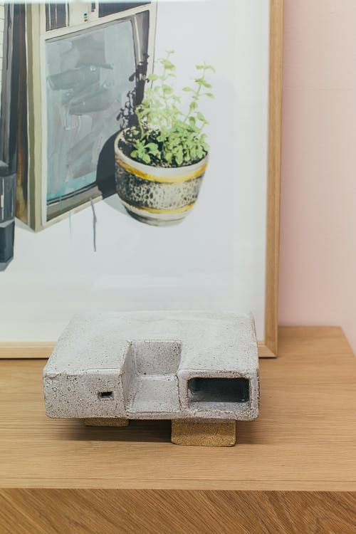 Potted plant painting in frame placed on table near creative decorative element in workshop