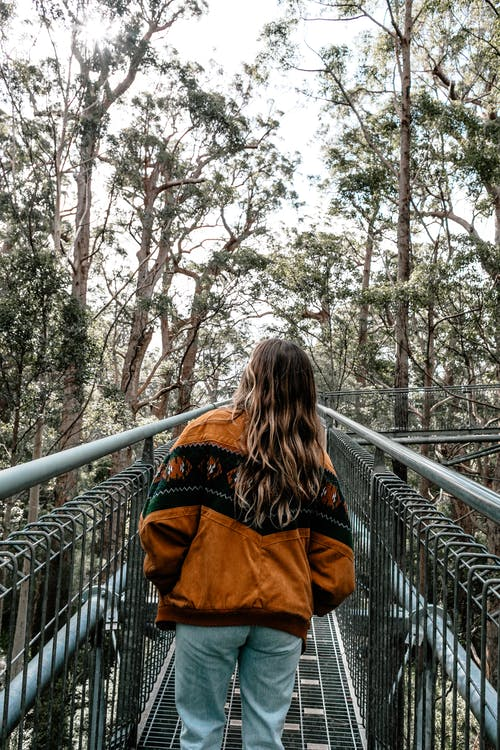 Back view of anonymous female in casual wear with long hair walking along metal footbridge and admiring nature