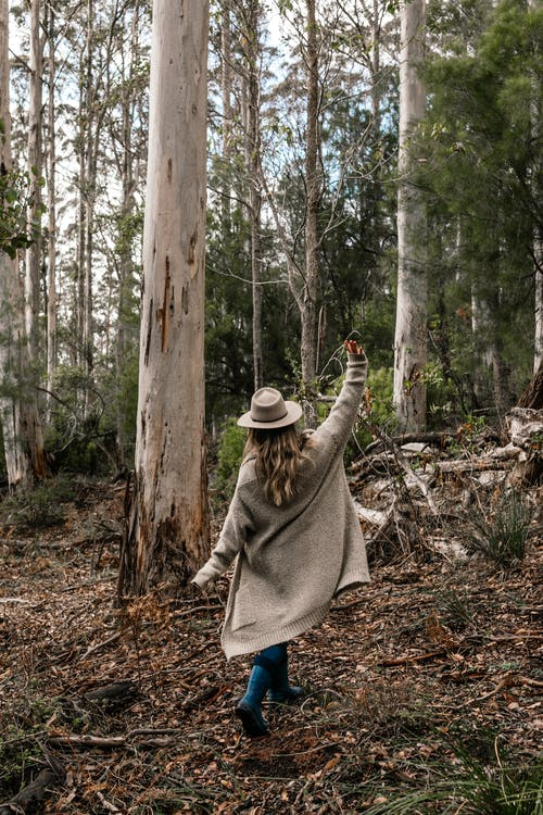 Back view of full body anonymous female in hat and coat walking in woods with raised hand