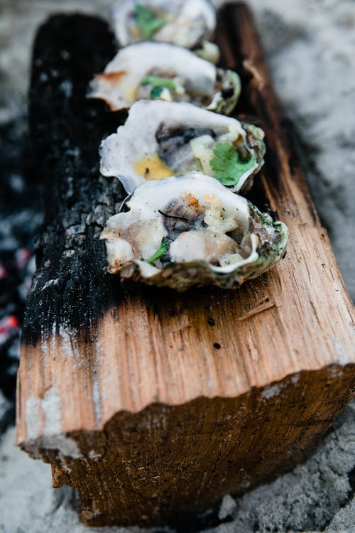 From above of appetizing shellfish on burnt log cooked on fire on sandy surface