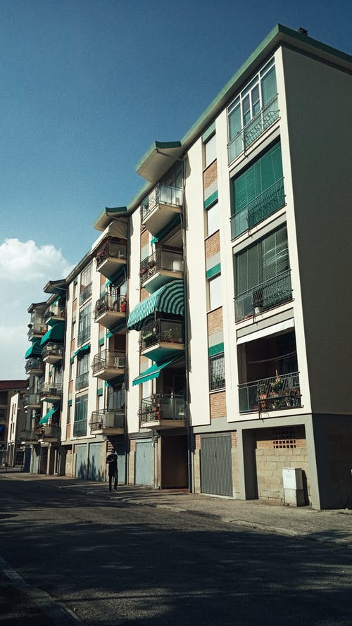 Modern residential building on city street