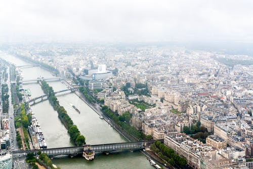 Amazing aerial view of bridges over Seine river flowing amidst residential districts with historical buildings in Paris