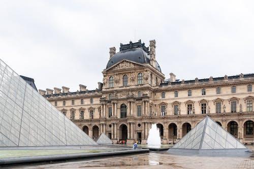Historical royal palace facade on rainy day
