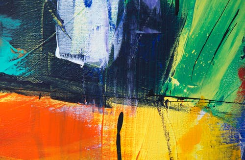Green Yellow and Black Abstract Painting