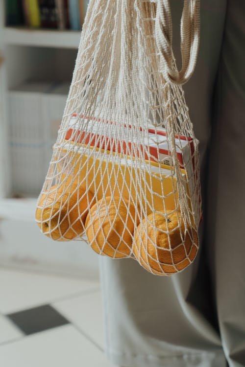 Immagine gratuita di arance, beni essenziali, borsa eco, dettagli
