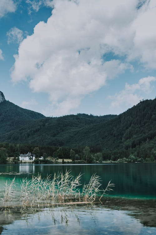 Picturesque scenery of turquoise lake and clouds