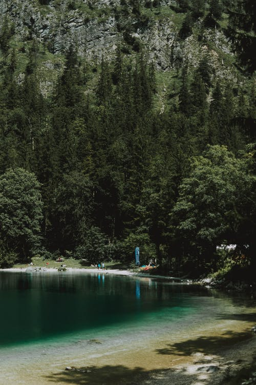 Scenic view of mountain lake in summer