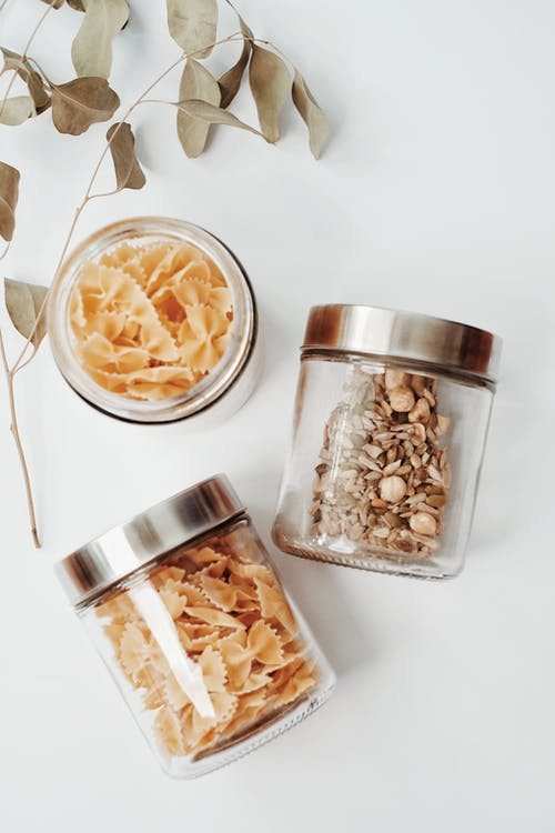 Stainless Steel Round Container With Brown and White Food