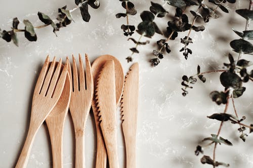 Brown Wooden Spoon on White Ice