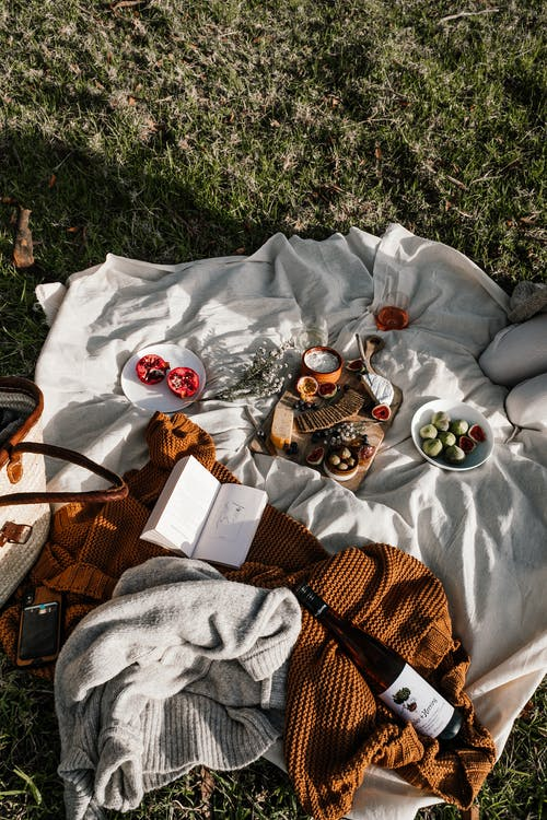 Creased fabric with delicious appetizers for picnic