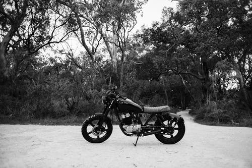 Black and white of metal motorcycle parked on sandy road near forest with deciduous trees and lush bushes