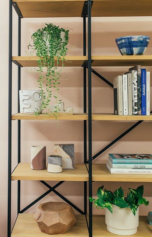 Modern shelves with books collection and various decorative elements