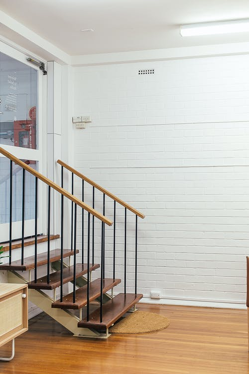 Small staircase in stylish house
