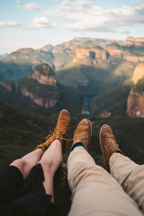 Couple Wearing Brown Suade Shoes