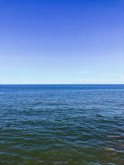 Rippling sea water against blue sky