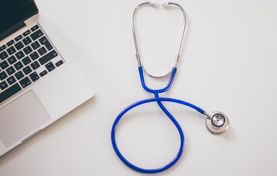 Free stock photo of desk, laptop, computer, stethoscope