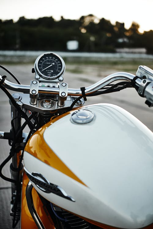 Close Up Photo of Shiny Motorcycle Gas Tank
