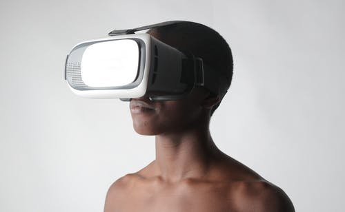 Man Wearing Black and White Vr Goggles