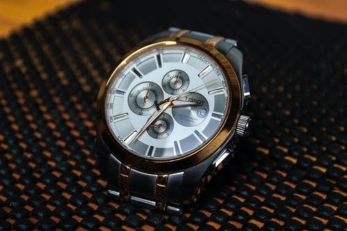 Silver and Gold Round Chronograph Watch
