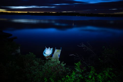 Free stock photo of at night, black And blue, boat, dreamy